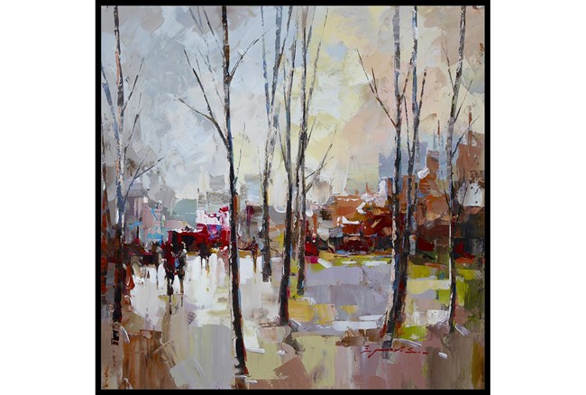 47X47 Rainy Days In The City With Black Frame  - 360