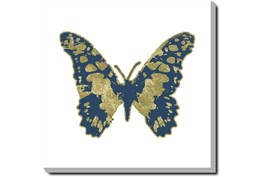 36X36 Blue & Gold Butterfly With Gallery Wrap Canvas