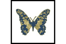 26X26 Blue & Gold Butterfly With Black Frame