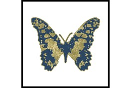 38X38 Blue & Gold Butterfly With Black Frame