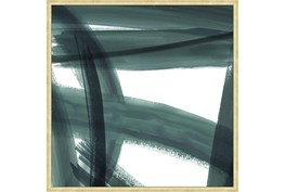 38X38 Abstract Green Brush Strokes I With Bronze Gold Frame