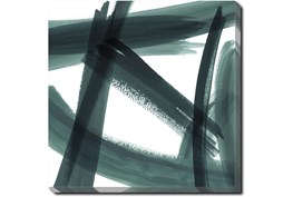 24X24 Abstract Green Brush Strokes II With Gallery Wrap Canvas