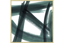 47X47 Abstract Green Brush Strokes Ii With Bronze Gold Frame