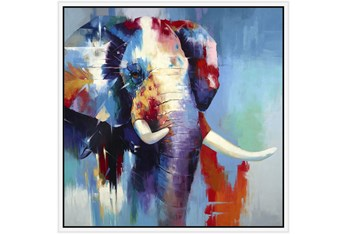 38X38 The Mighty Elephant With White Frame