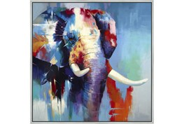 47X47 The Mighty Elephant With Silver Frame