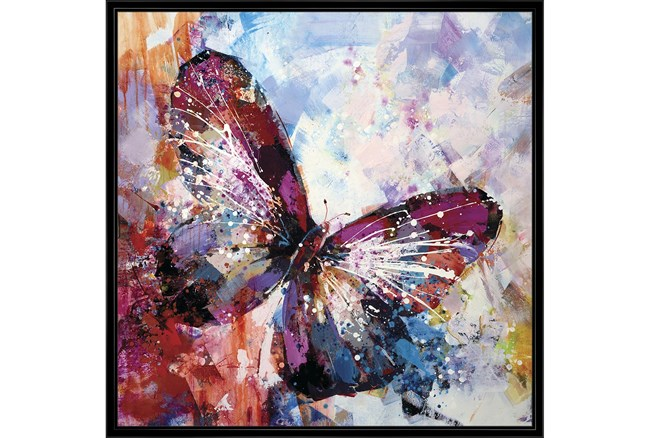 38X38 Winged Beauty Butterfly With Black Frame  - 360