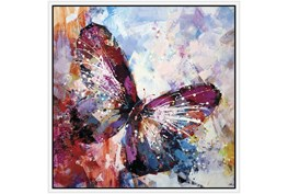 38X38 Winged Beauty Butterfly With White Frame