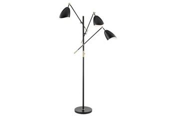 68 Inch Black + Gold Brass Modern Scoop Shade 3-Lite Task Tree Floor Lamp
