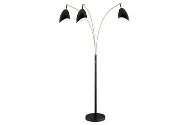 82 Inch Black + Gold Brass Modern Scoop Shade 3-Lite Arc Floor Lamp