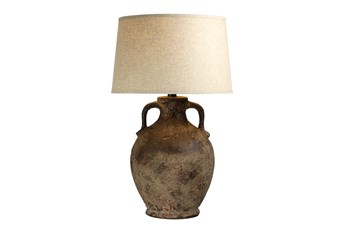 31 Inch Patinaed Brown Adobe Handled Amphora Vase Table Lamp With Drum Shade