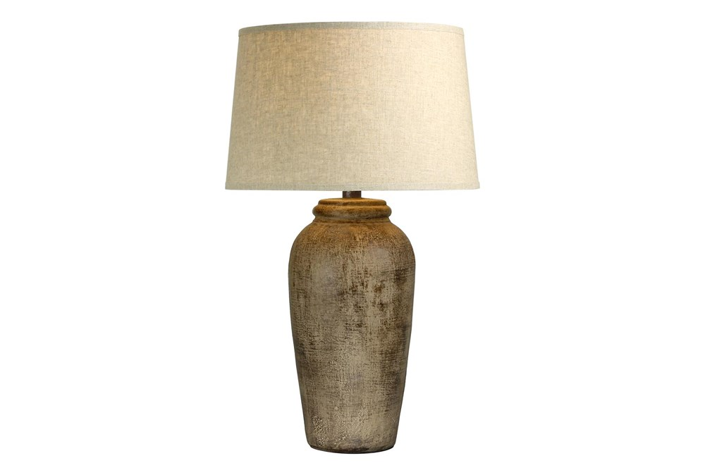 31 Inch Tall Patinaed Brown Bottle Table Lamp With Tapered Drum Shade