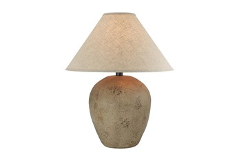 27 Inch Patinaed Brown Wide Urn Table Lamp With Empire Shade