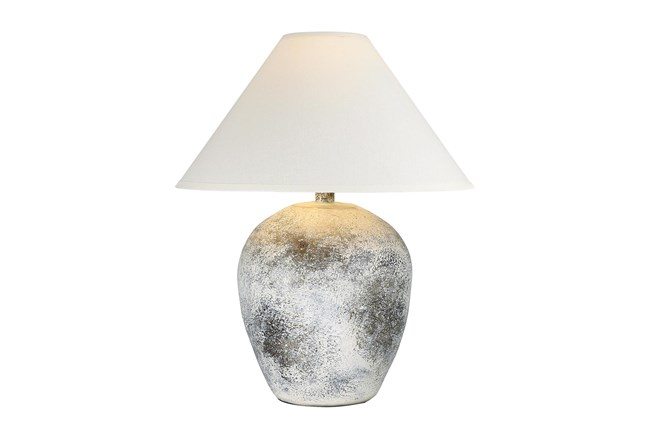 27 Inch White Washed Patinaed Wide Urn Table Lamp With Empire Shade - 360