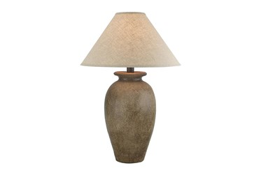 31 Inch Tall Patinaed Brown Urn Table Lamp With Empire Shade