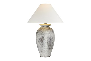 31 Inch Tall White Washed Patinaed Urn Table Lamp With Empire Shade