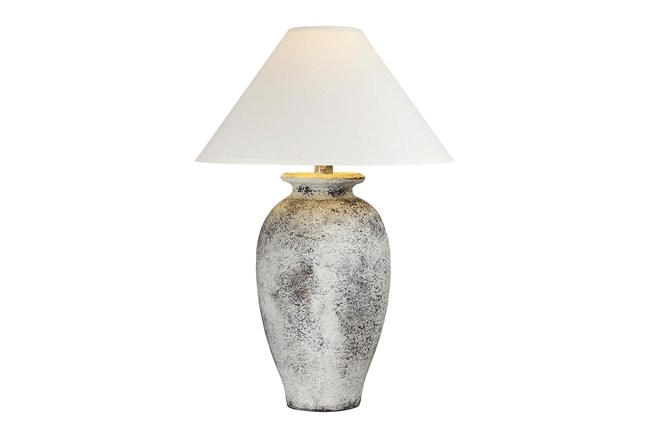 31 Inch Tall White Washed Patinaed Urn Table Lamp With Empire Shade - 360