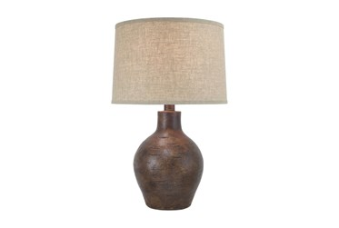 24 Inch Patinaed Brown Spherical Table Lamp With Drum Shade
