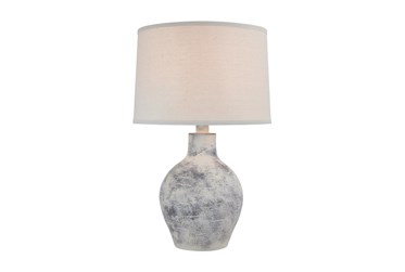 24 Inch White Washed Patinaed  Spherical Table Lamp With Drum Shade