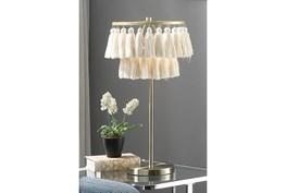 25 Inch Brass + Ivory Tassel Fringe Shade Table Lamp