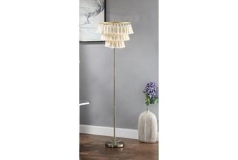 64 Inch Brass + Ivory Tassel Fringe Shade Floor Lamp