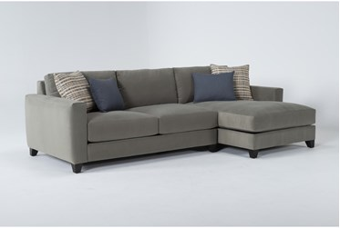 Quinton Velvet 2 Piece Sectional With Right Arm Facing Chaise