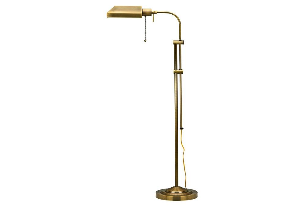 58 Inch Antique Brass Rustic Pharmacy Style Adjustable Task Floor Lamp