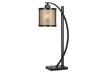 26 Inch White Mica + Metal Table Lamp