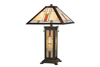 25 Inch Arts + Crafts Tiffany Style Table Lamp With Night Light