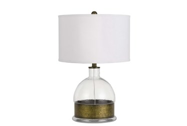 25 Inch Clear Glass + Antiqued Brass Banded Table Lamp