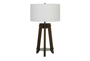 32 Inch Ash Wood + Metal Industrial Tripod Style 3-Way Table Lamp