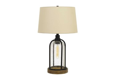 27 Inch Bubble Glass Metal + Pine Wood Table Lamp With Edison Bulb Night Light