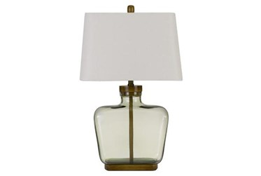 28 Inch Tinted Rectangular Glass Table Lamp With Wooden Base + 3 Way Switch