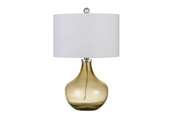 23 Inch Smokey Amber Glass Table Lamp