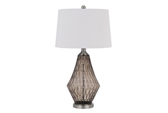 31 Inch Smokey Gray Diamond Textured Glass Table Lamp With 3 Way Switch