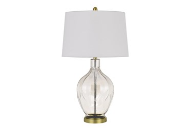 30 Inch Clear Molded Textured Glass + Brass Table Lamp With 3 Way Switch