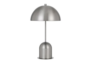 20 Inch Brushed Silver Mushroom Dome Table Lamp With Touch Sensor Switch