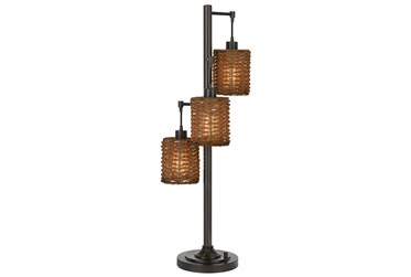 38 Inch Rattan + Metal 3-Lite Tree Table Lamp With Rotary Switch