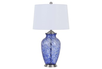 28 Inch Blue Spot Hand Blown Art Glass Jar Table Lamp With 3 Way Switch