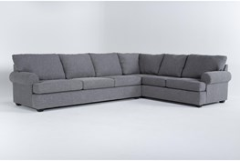 """Hampstead Graphite 140"""" 2 Piece Sectional With Left Arm Facing Sofa"""