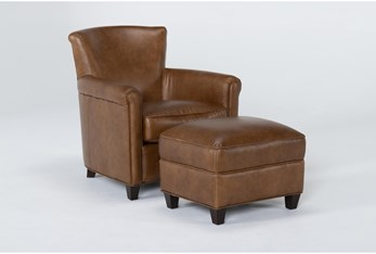 Theodore Honey Leather Chair and Ottoman Set