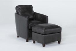 Simon Slate Leather Chair and Ottoman Set