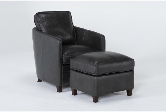 Simon Slate Leather Chair and Ottoman Set - 360