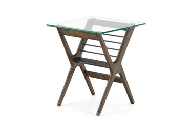 Oak + Iron + Glass Accent Table