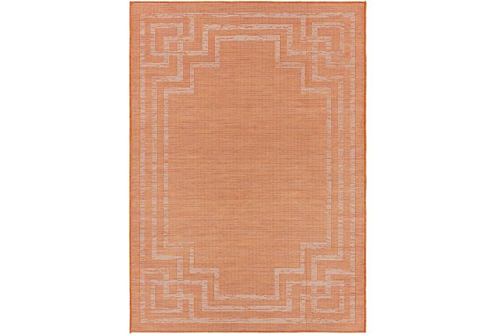 "7'8""X10' Outdoor Rug-Bright Orange Mottled Greek Border"