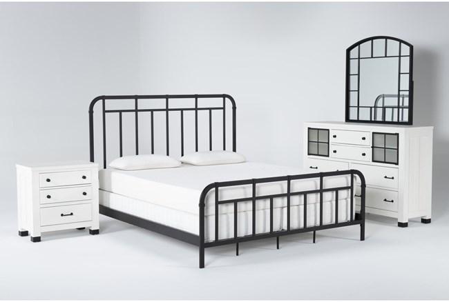 Wade Eastern King Metal 4 Piece Bedroom Set - 360