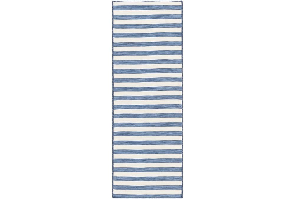 """2'6""""X7'3"""" Outdoor Rug-Denim & Cream Thin Stripe"""