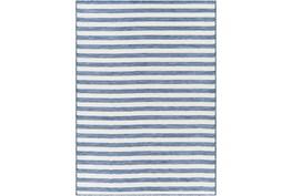 """5'3""""X7'3"""" Outdoor Rug-Denim & Cream Thin Stripe"""