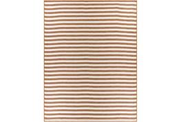 "7'8""X10'2"" Outdoor Rug-Orange & Cream Thin Stripe"