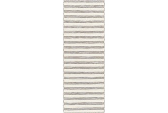 """2'6""""X7'3"""" Outdoor Rug-Camel & Taupe Thin Stripe"""