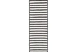 "2'6""X7'3"" Outdoor Rug-Charcoal & Cream Thin Stripe"